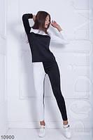 Оригинальный черно-белый спортивный костюм приталенного кроя Elfdock