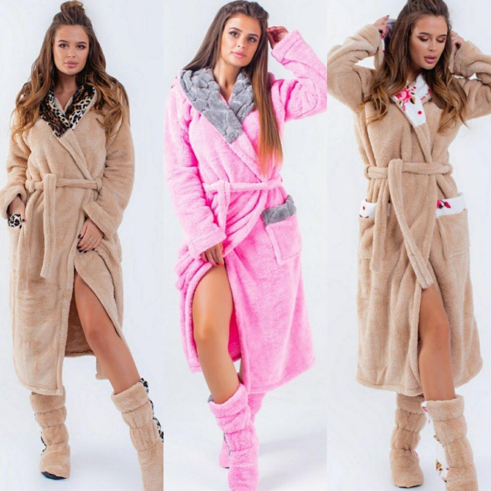 Набор домашний женский, халат махровый теплый с отделкой на запах с поясом и капюшоном + махровые сапожки