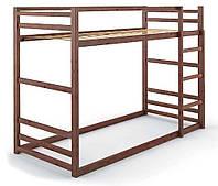 Кровать деревянная двухъярусная Барни 90х200 Mebigrand сосна орех темный