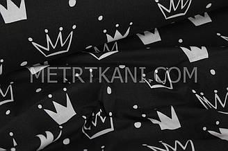 "Ткань хлопковая  белые ""Короны"" на  чёрном  №1023"