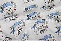 Ткань хлопок с пиратами в голубых банданах на белом фоне №883
