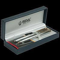 Комплект ручок (перо+кулькова) в подарунковому футлярі L, хром