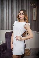 Стильное платье трапеция с оригинальными рукавами в складку  Saga WHITE, XS