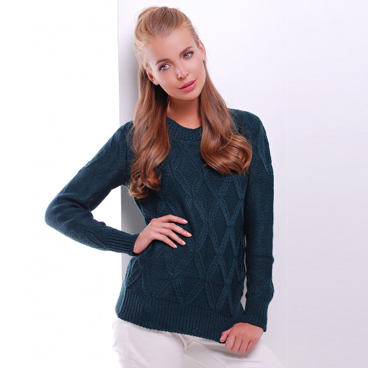 """Стильний светр темно-зелений в'язаний """"Бета"""""""