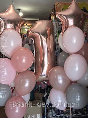 Набор 2 фонтана из 11 шаров и Цифра с гелием, фото 3