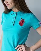 """Женское медицинское поло мята с вышивкой """"Сердце"""""""
