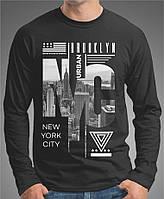 """0063 BK Мужская футболка-лонгслив """"NYC"""" (Испания).Черная"""
