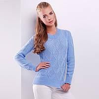"""Голубой вязаный женский свитер """"Бета"""""""