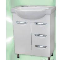 Тумба для ванной комнаты с 3 выдвижными ящиками Грация Т10 с умывальником Эпика-60