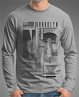 """0063 GM Мужская футболка-лонгслив """"NYC"""" (Испания).Темно серая, меланж."""