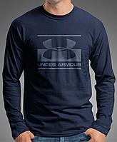 """0061 NY Мужская футболка-лонгслив """"UNDER"""" (Испания).Темно синяя."""