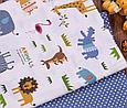 Сатин (бавовняна тканина) горох на синьому (компаньйон жирафи, бегемоти), фото 3