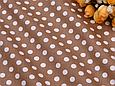Сатин (хлопковая ткань) горох средний на шоколадном, фото 3