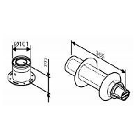 Коаксиальный горизонтальный дымоход Bosch AZ 395 с адаптером подключения к котлу, 60/100;отвод 90°