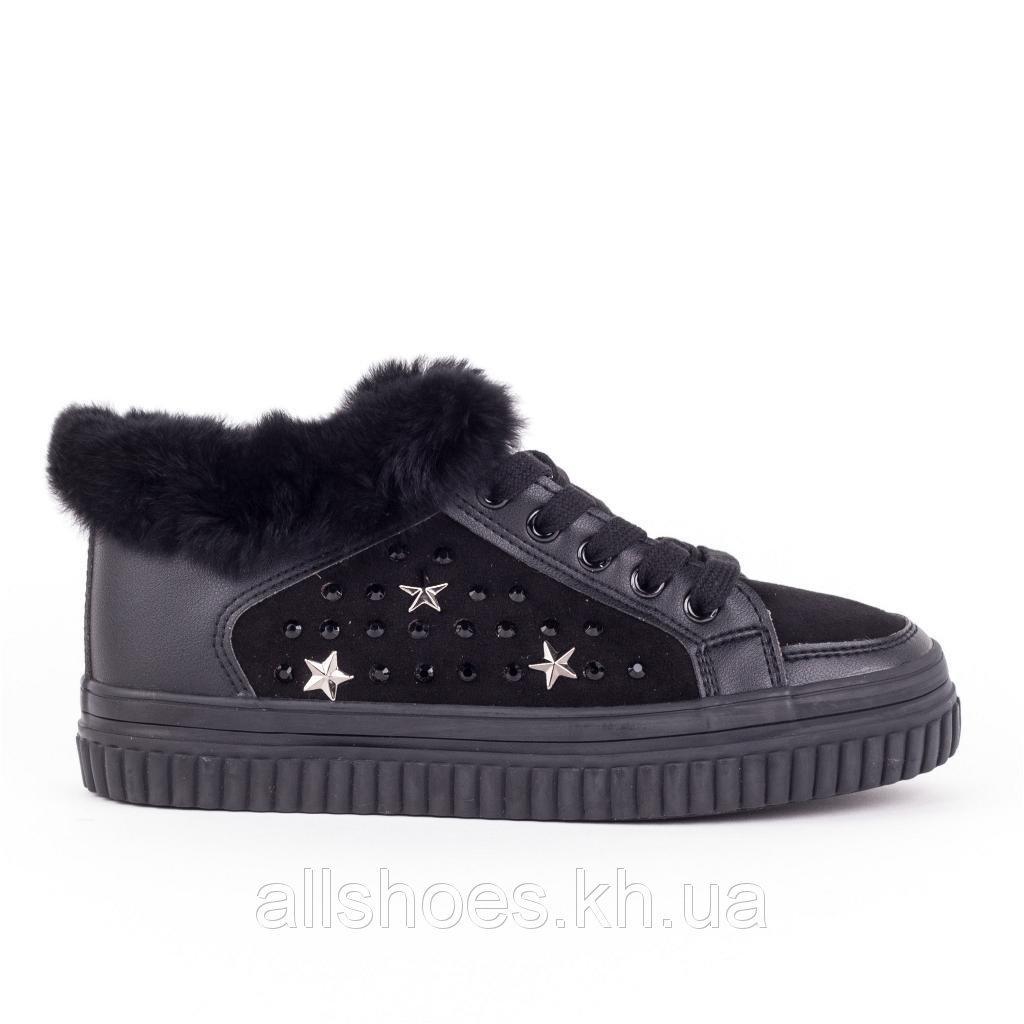Женские замшевые ботинки PRIMA D`ARTE . Кеды на меху.