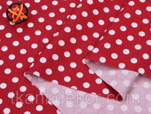 Сатин (хлопковая ткань) горох средний на красном