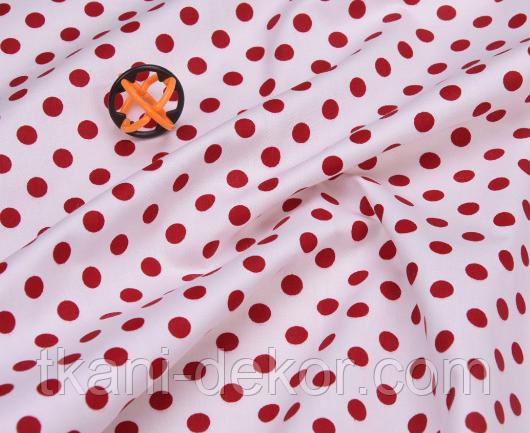 Сатин (хлопковая ткань) горох средний красный