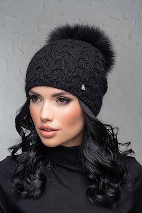 Шапка женская с большим бубоном Flirt Трэйси One Size черная, фото 2