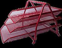 """Лоток для бумаги горизонтальный """"3 в1"""" BUROMAX, металлический, красный"""
