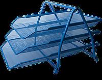 """Лоток для бумаги горизонтальный """"3 в1"""" BUROMAX, металлический, синий"""