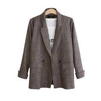 Женский коричневый пиджак в клеточку опт, фото 1