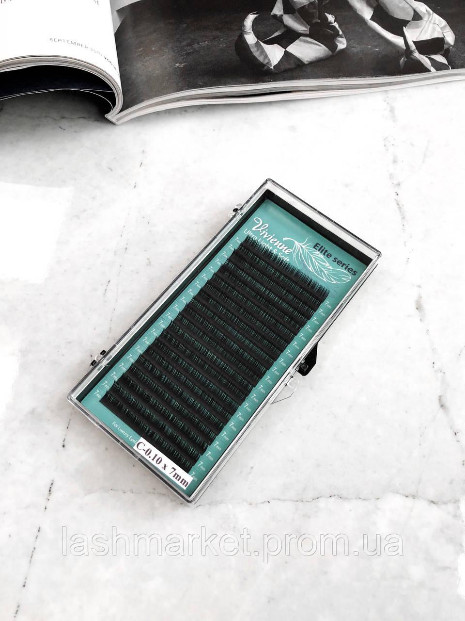 Вії для нарощування Vivienne Elite Series, чорні C 0.10 9 mm