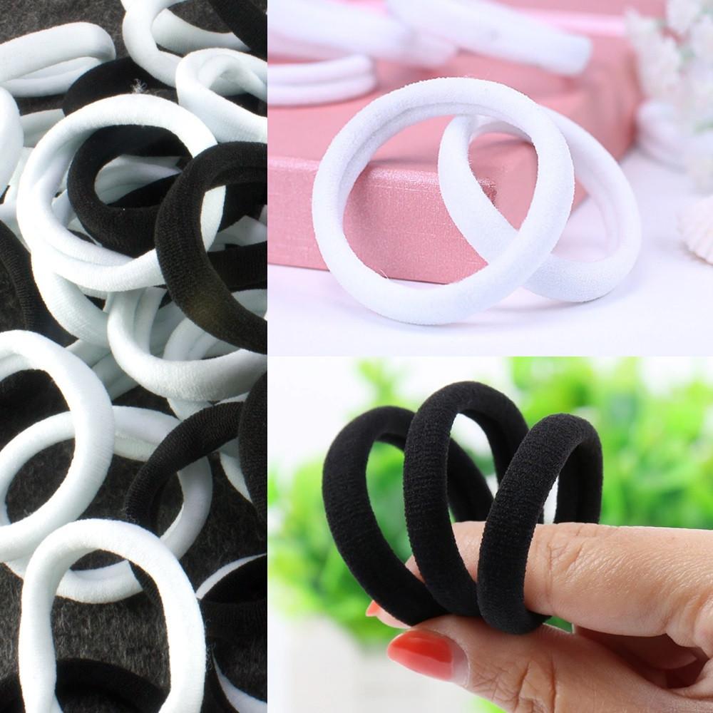 (~45-50шт) Бесшовные резиночки для волос d=4см  (микрофибра)  Чёрно-белый МИКС