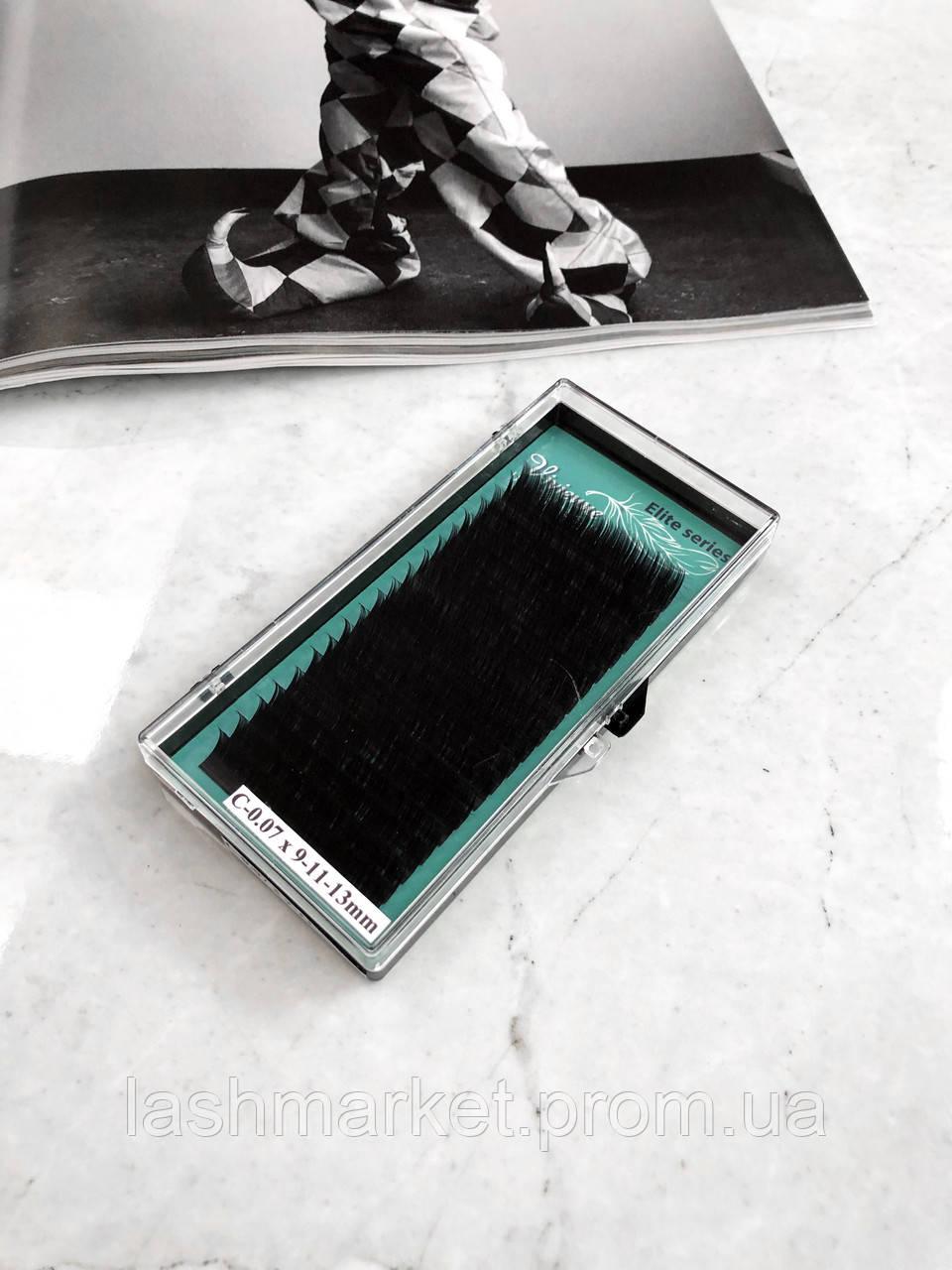 Вії для нарощування Vivienne Elite Series, Dark Brown C 0.07 9 mm