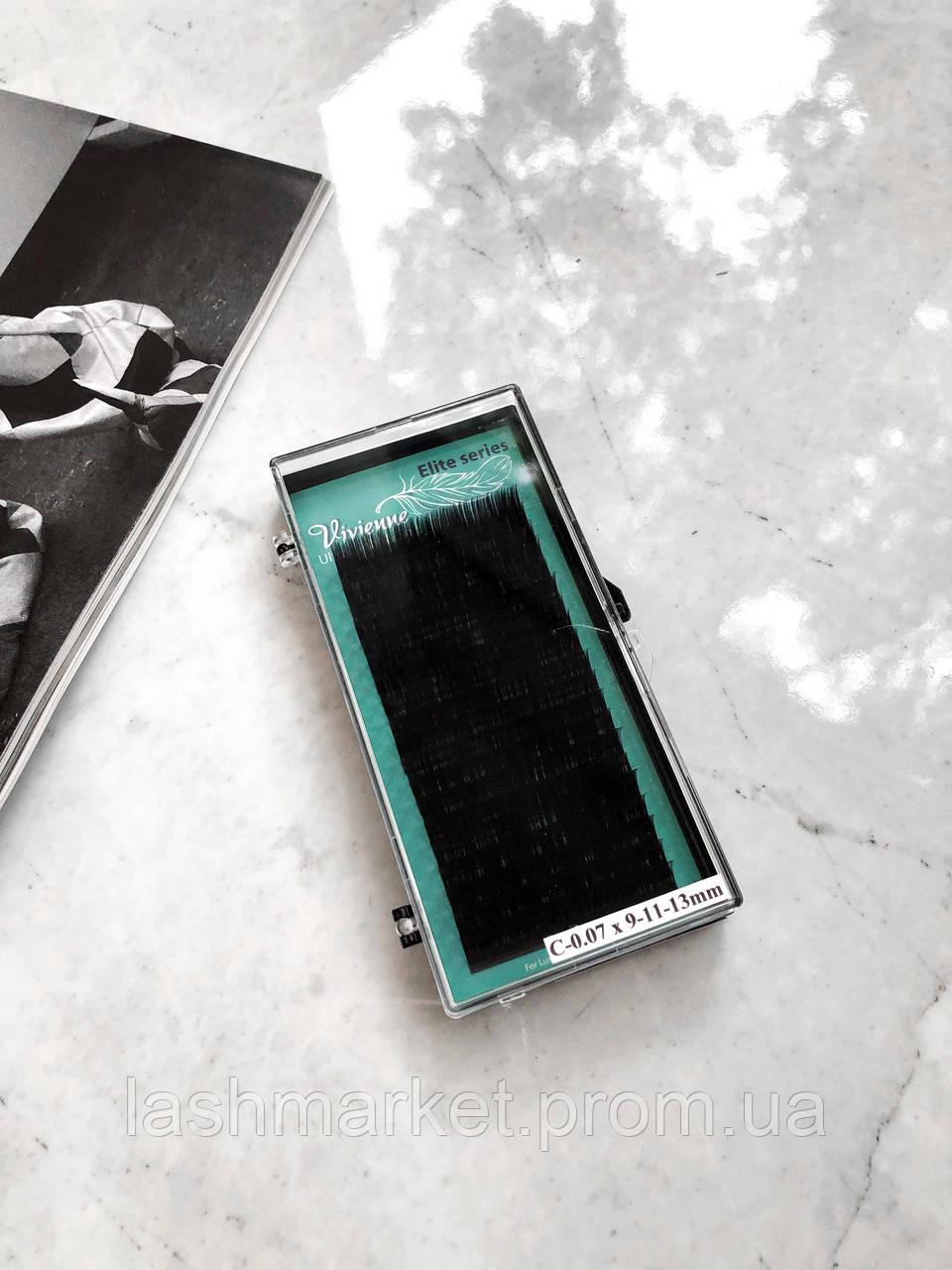 Вії для нарощування Vivienne Elite Series, Dark Brown D 0.07 12 mm