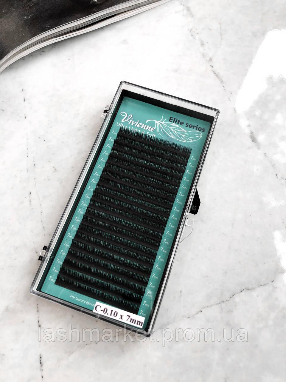 Ресницы для наращивания Vivienne Elite Series, Dark Brown  D 0.07 9 mm