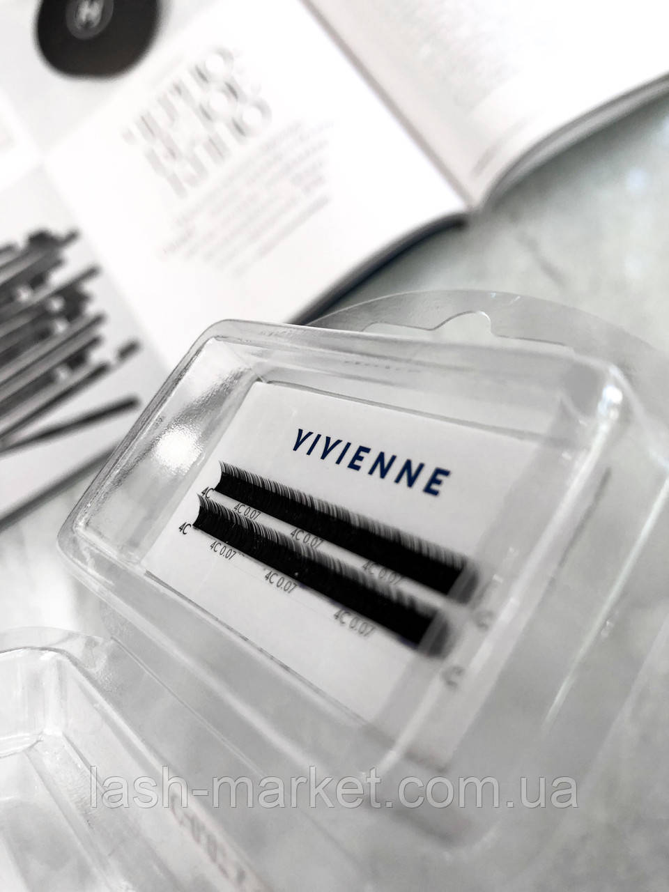 Ресницы 2 ленты С 0.07(4мм) Vivienne elite чёрные