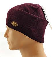 Чоловічі в'язані шапки Польські утеплені флісом 56 за 62 розмір теплі довгі, фото 1
