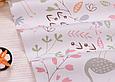 Сатин (хлопковая ткань) фламинго,птички на полянке розовой, фото 2