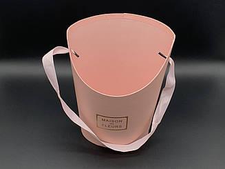 Коробки для цветов с ручкой. Цвет розовый. 22х17см