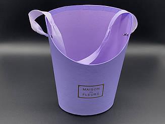 Коробки для цветов с ручкой. Цвет фиолетовый. 22х17см