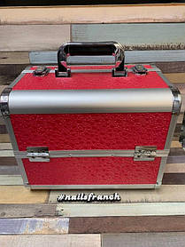 Бьюти кейс для мастера металлический раздвижной (красный)