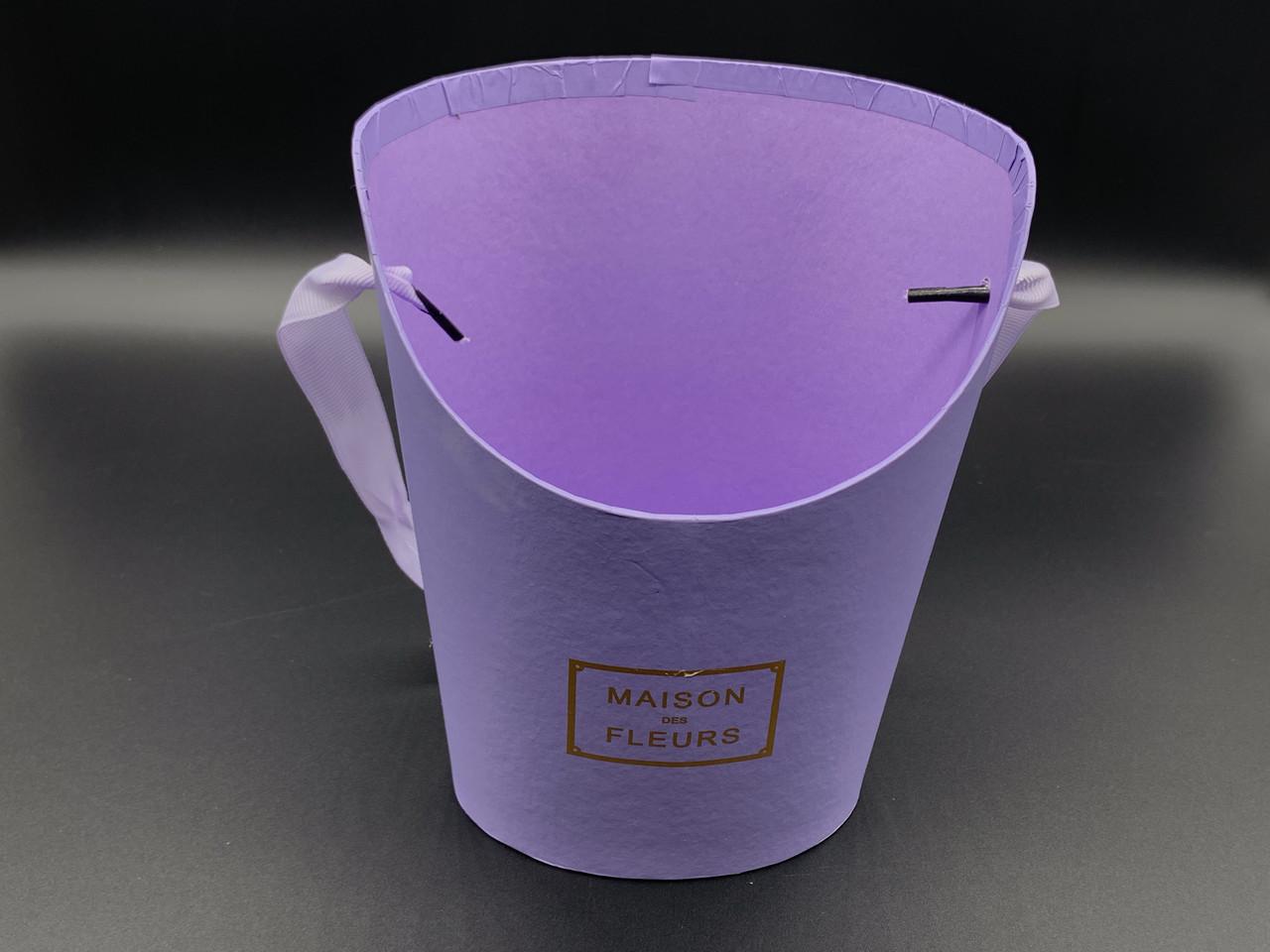 Коробки для цветов с ручкой. Цвет фиолет. 19х15см