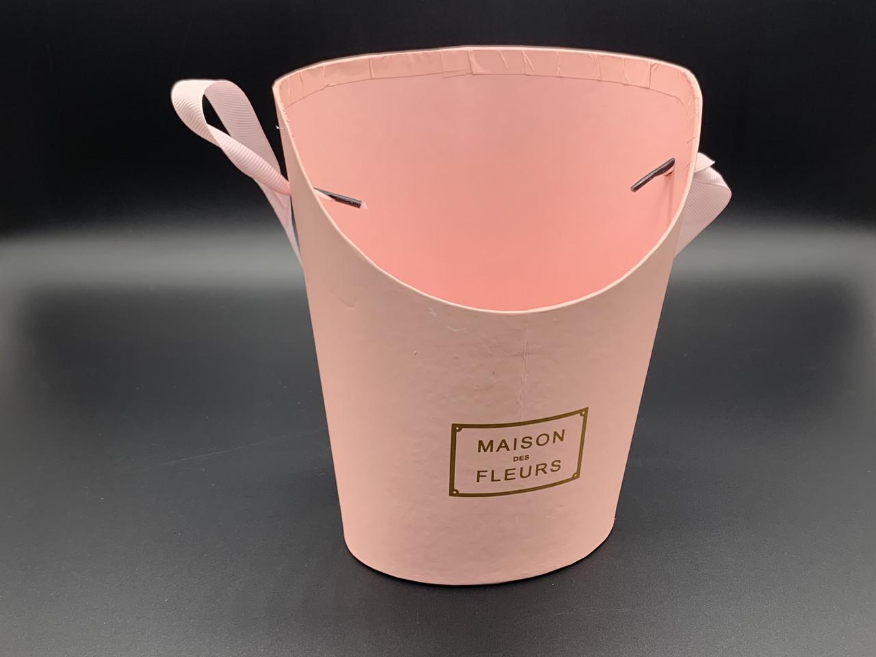 Коробки для цветов с ручкой. Цвет розовый. 19х15см
