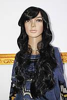 Парик из искусственных волос длинные волнистые волосы с челкой черный