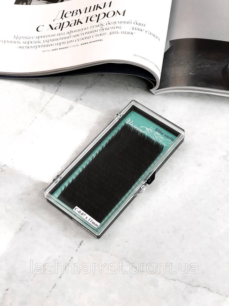 Вії для нарощування Vivienne Elite Series, Dark Brown D 0.07 7 mm