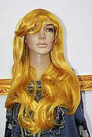 Искусственный парик имитация натуральных волос длинные волосы с челкой золотистые