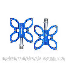 Педали RockBros Butterfly, синие, промподшипники, CNC machined