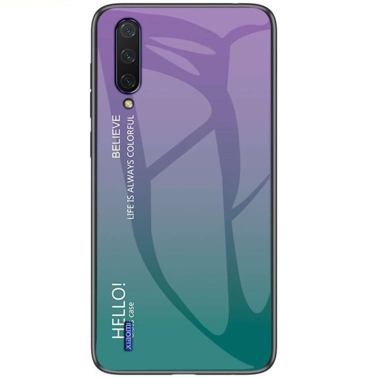 Стеклянный чехол-накладка Gradient HELLO для Xiaomi Mi CC9 / Mi 9 Lite Фиолетовый