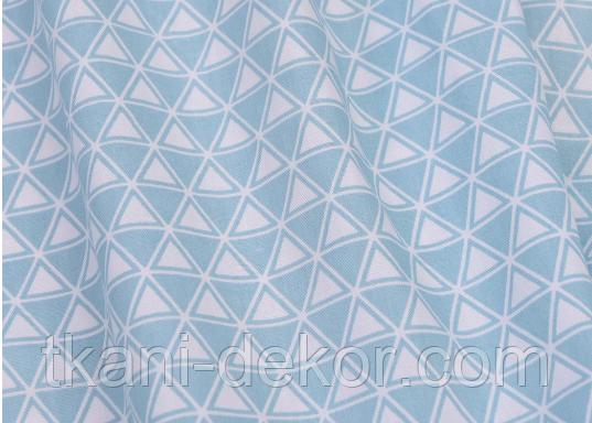 Сатин (хлопковая ткань) треугольник в треугольнике на голубом
