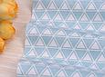 Сатин (хлопковая ткань) треугольник в треугольнике на голубом, фото 4