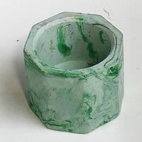 Горшек для цветов, растений - зеленый мраморный G-05. Кашпо