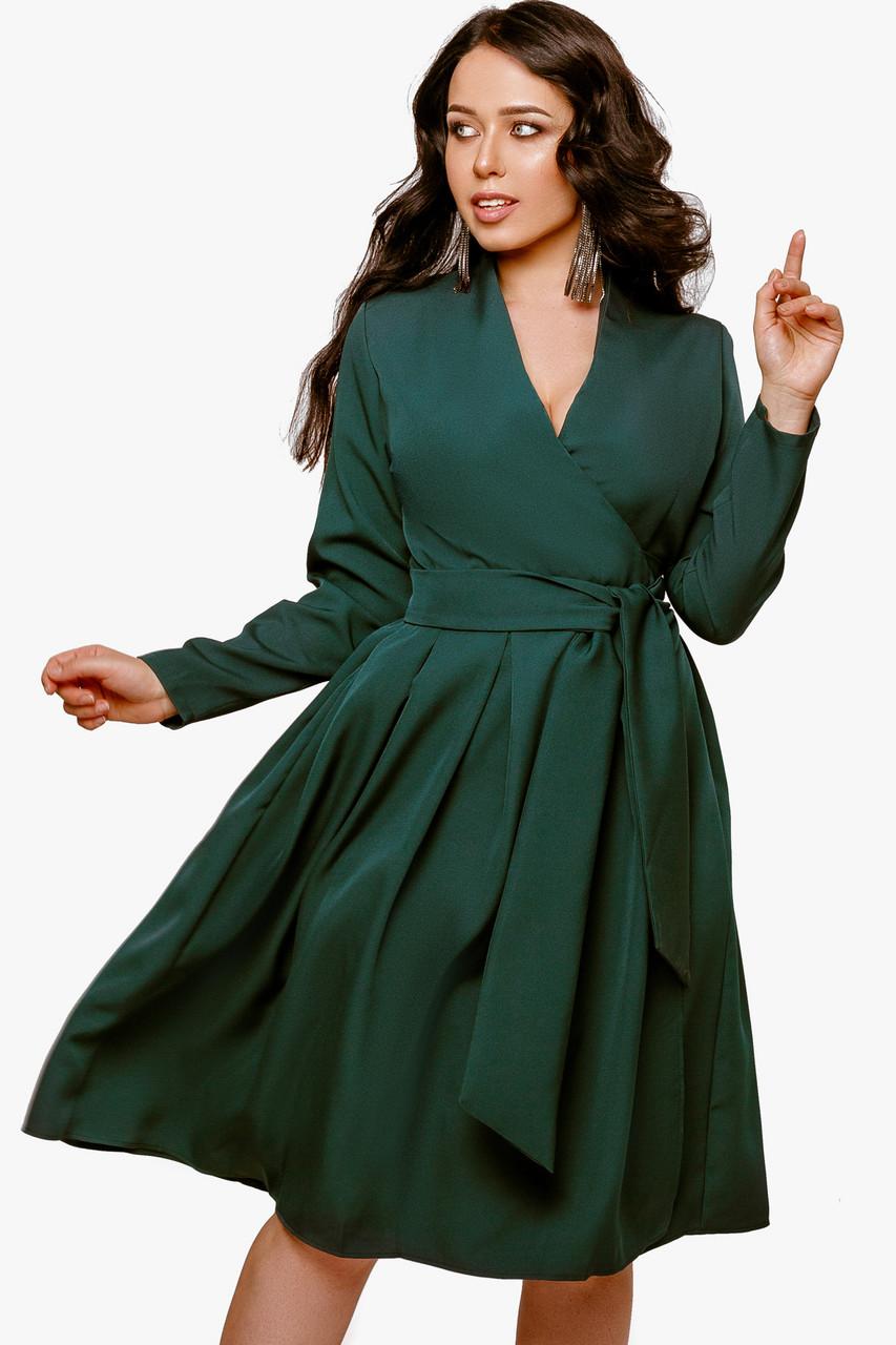 Женское платье на запах Бутылочный