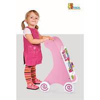 2 в 1 ходунки и игровой центр - ходунки-каталка Viga Toys розовый  с игровой панелью