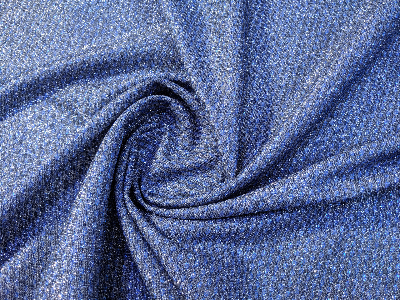 Трикотаж Диско тритон, серебро с голубым