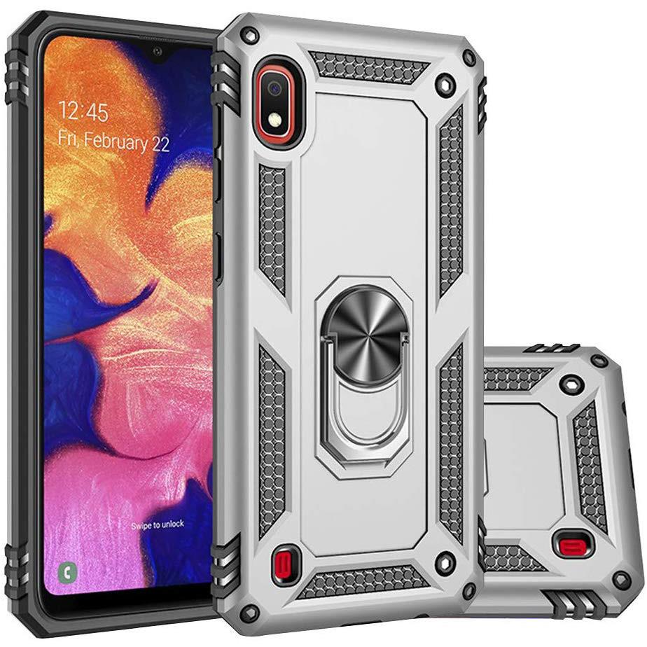Ударопрочный чехол Serge Ring магнитный держатель для Samsung Galaxy A10 (A105F) Серебряный